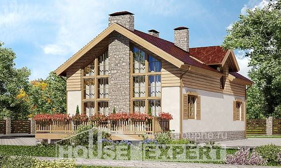 165-002-R Two Story House Plans with garage in front, cozy Dream Plan, House Expert